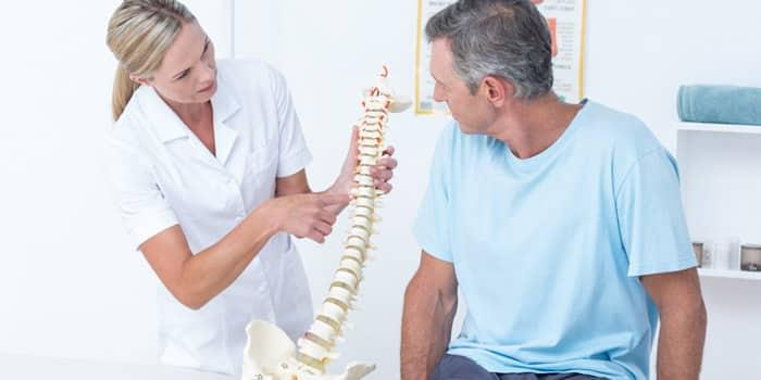 Ostéopathe qui donne des explications à son patient adulte en lui montrant une colonne vertébrale pour illustrer ses propos.